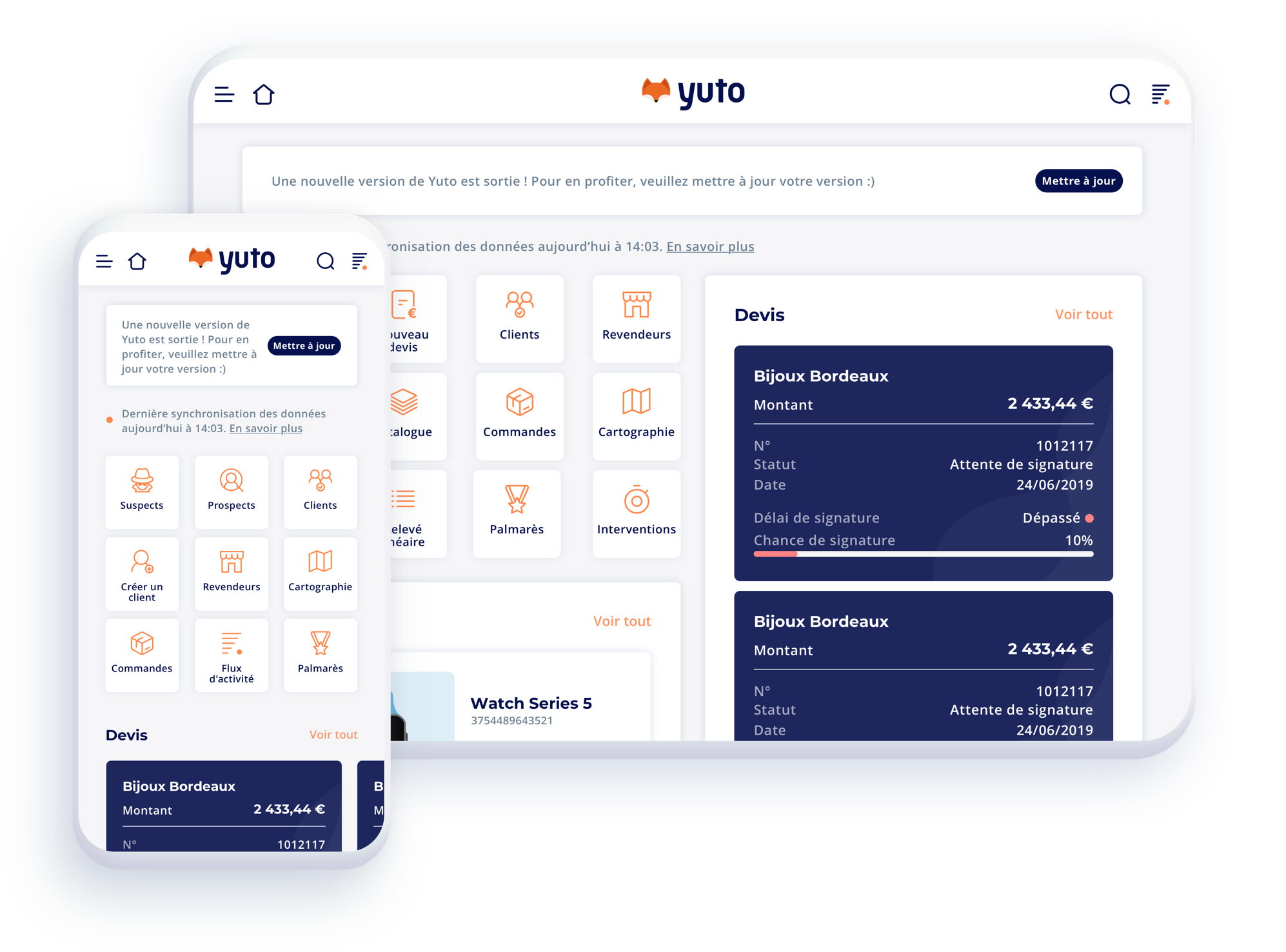 yuto detail interface administrateur crm mobile